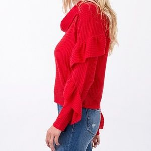 COLOR FOUR SEASONS Sweaters - SWEATER (WOMAN'S RUFFLE DETAIL SLEEVE WAFFLE HACCI